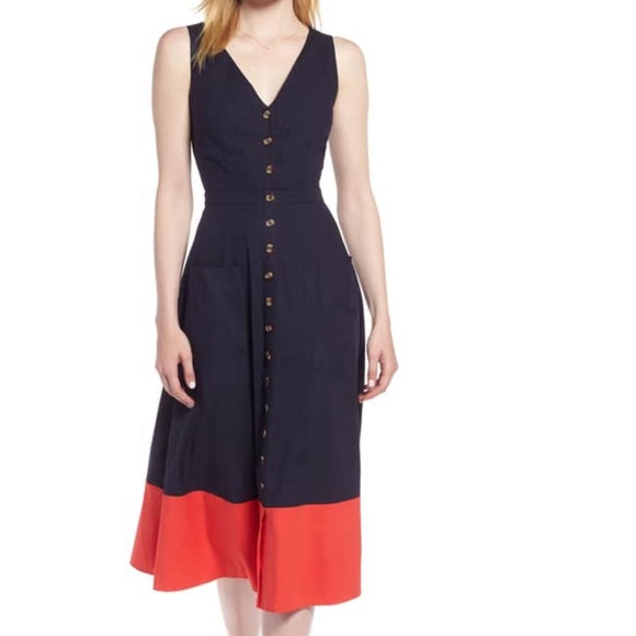 1bd6dcb1b80 1901 Red and Navy Colorblock Midi Dress